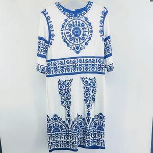🔥 Blue & White Mandala Print Sheath Dress